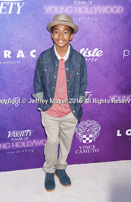HOLLYWOOD, CA - AUGUST 16: Actor Miles Brown arrives at Variety's Power Of Young Hollywood at NeueHouse Hollywood on August 16, 2016 in Los Angeles, California.