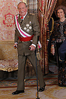 King Juan Carlos of Spain and Queen Sofia of Spain attend the traditional 'Pascua Militar' ceremony at The Royal Palace. January 06, 2013. (ALTERPHOTOS/Caro Marin)
