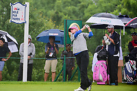 Kris Tamulis (USA) watches her tee shot on 1 during Friday's second round of the 72nd U.S. Women's Open Championship, at Trump National Golf Club, Bedminster, New Jersey. 7/14/2017.<br /> Picture: Golffile | Ken Murray<br /> <br /> <br /> All photo usage must carry mandatory copyright credit (&copy; Golffile | Ken Murray)