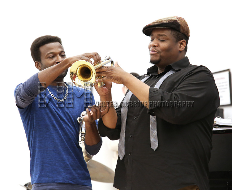 "Yamin Mustafa and Juson Williams  During the Open Rehearsal for the Miami New Drama's World Premiere Musical  ""A Wonderful World"" at the Ripley-Grier Studios on January 26, 2020 in New York City."