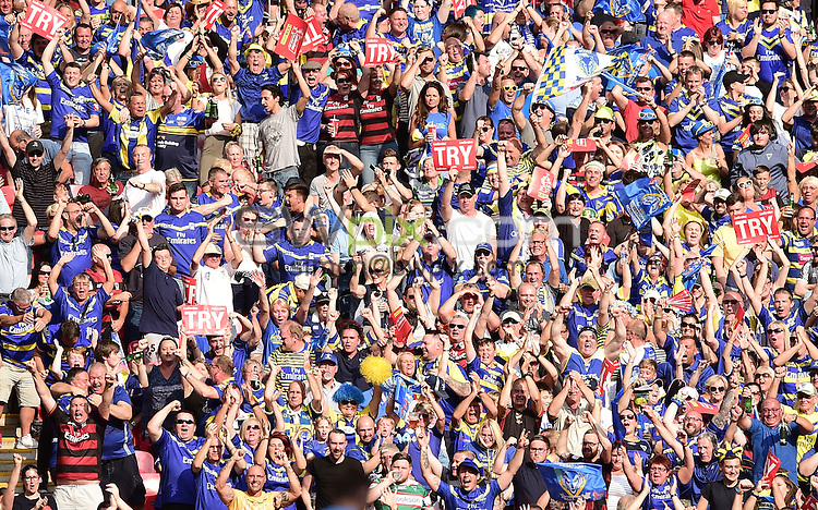 Picture by Alex Broadway/SWpix.com - 27/08/2016 - Rugby League - Ladbrokes Challenge Cup Final - Hull FC v Warrington Wolves - Wembley Stadium, London, England - Warrington Wolves Fans, Supporters.