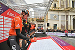 Brandon McNulty (USA) Rally UHC Cycling at sign on before the start of Stage 3 of Il Giro di Sicilia running 186km from Caltanissetta to Ragusa, Italy. 5th April 2019.<br /> Picture: LaPresse/Massimo Paolone | Cyclefile<br /> <br /> <br /> All photos usage must carry mandatory copyright credit (&copy; Cyclefile | LaPresse/Massimo Paolone)