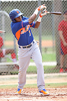 GCL Mets infielder Milton Ramos (7) at bat during a game against the GCL Cardinals on July 7th, 2014 at the Roger Dean Complex in Jupiter, Florida. GCL Mets defeated GCL Cardinals 6-2. (Stacy Jo Grant/Four Seam Images)