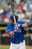 Round Rock Express first baseman Carlos Pena (33) at bat during the Pacific Coast League baseball game against the Sacramento River Cats on June 19, 2014 at the Dell Diamond in Round Rock, Texas. The Express defeated the River Cats 7-1. (Andrew Woolley/Four Seam Images)