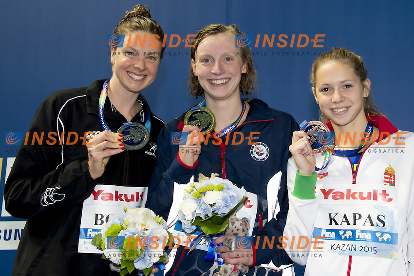 (L to R) BOYLE Lauren NZL silver; LEDECKY Katie USA Gold; KAPAS Boglarka HUN<br /> 1500 freestyle women podium<br /> Swimming Nuoto Kazan Arena<br /> Day12 04/08/2015 Evening Finals<br /> XVI FINA World Championships Aquatics Swimming<br /> Kazan Tatarstan RUS July 24 - Aug. 9 2015 <br /> Photo G.Scala/Deepbluemedia/Insidefoto