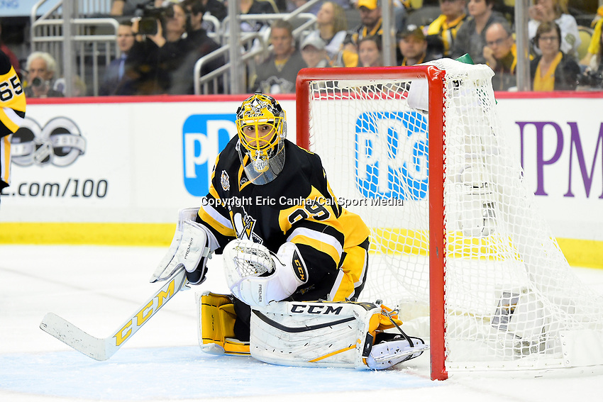 May 15, 2017: Pittsburgh Penguins goalie Marc-Andre Fleury (29) tends net during game two of the National Hockey League Eastern Conference Finals between the Ottawa Senators and the Pittsburgh Penguins, held at PPG Paints Arena, in Pittsburgh, PA. Pittsburgh defeats Ottawa 1-0 in regulation to tie the series 1-1. Eric Canha/CSM