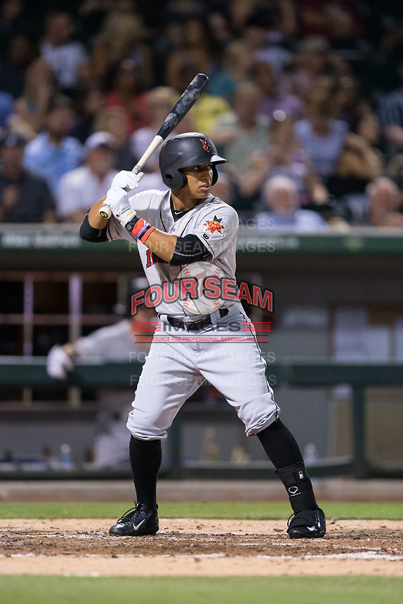 Christopher Bostick (7) of the Indianapolis Indians at bat against the Charlotte Knights at BB&T BallPark on June 16, 2017 in Charlotte, North Carolina.  The Knights defeated the Indians 12-4.  (Brian Westerholt/Four Seam Images)