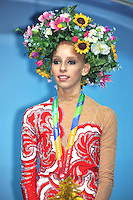 August 30, 2013 - Kiev, Ukraine - YANA KUDRYAVTSEVA of Russia celebrates gold in All-Around at 2013 World Championships.