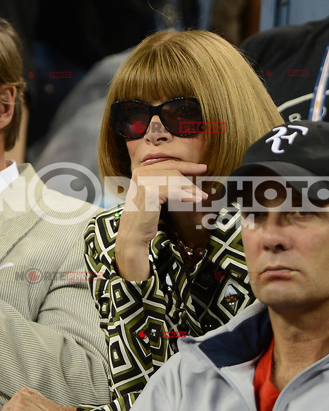 FLUSHING NY- SEPTEMBER 5: Anna Wintour is sighted watching the Federer Vs Berdych match on Arthur Ashe stadium at the USTA Billie Jean King National Tennis Center on September 5, 2012 in in Flushing Queens. Credit: mpi04/MediaPunch Inc. ***NO NY NEWSPAPERS*** /NortePhoto.com<br />