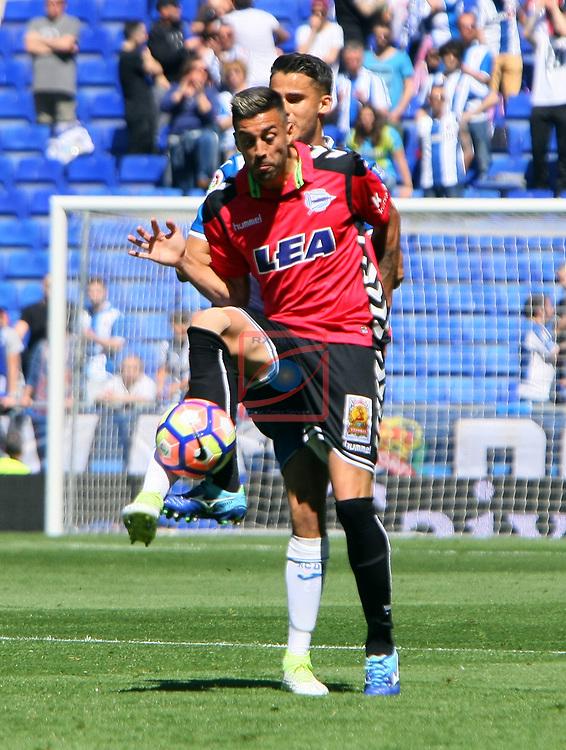League Santander 2016/2017. Game: 31.<br /> RCD Espanyol vs Deportivo Alaves: 1-0.<br /> Diego Reyes vs Camarasa.
