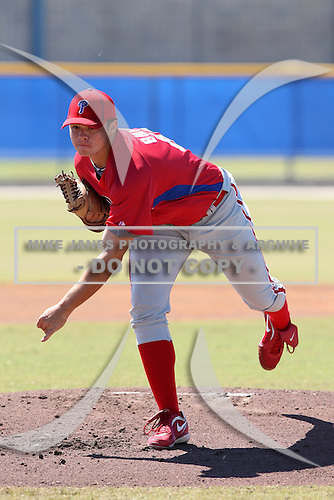 Philadelphia Phillies minor league pitcher Jesse Biddle (43) vs. the Toronto Blue Jays in an Instructional League game at Englebert Minor League Complex in Dunedin, Florida;  October 7, 2010.  Biddle was taken in the 1st round, 27th overall, out of Germantown Friends High School in Philadelphia, PA.  Photo BY Mike Janes/Four Seam Images
