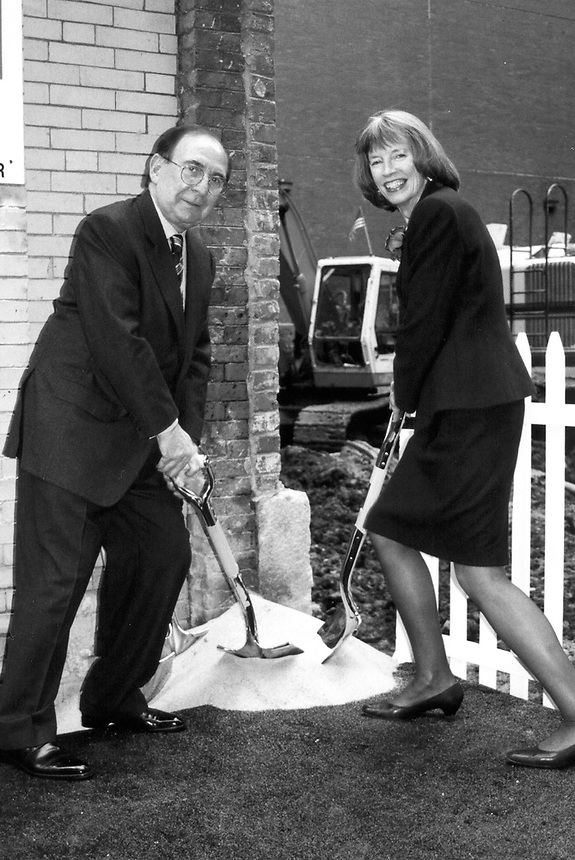 Tufte Center groundbreaking. Ted Cutler and Marillyn Zacharis, 2001