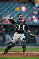 Dayton Dragons catcher Jose Duarte (16) throws to first during a game against the Peoria Chiefs on May 6, 2016 at Dozer Park in Peoria, Illinois.  Peoria defeated Dayton 5-0.  (Mike Janes/Four Seam Images)