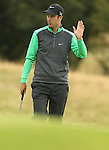 Ross Fisher acknowledges the support after holing his par putt on the 17th during the second round of the ISPS Handa Wales Open 2013 at the Celtic Manor Resort<br /> <br /> 30.08.13<br /> <br /> ©Steve Pope-Sportingwales