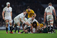Ben Youngs of England passes during the QBE International match between England and Australia at Twickenham Stadium on Saturday 29th November 2014 (Photo by Rob Munro)