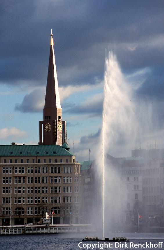 Deutschland, Hamburg, Binnenalster und St. Jacobi