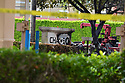 MIRAMAR, FL - MAY 12: A Chase Bank sign is seen charred after a small Piper PA-34 plane crashed on May 12, 2020 in Miramar, Florida. The plane was seen flying low over an intersection before clipping a power line and crashing, killing the pilot, identified as 25-year-old Mark Daniel Scott, and leaving the flight instructor seriously injured. A third person on the ground was injured by debris.  ( Photo by Johnny Louis / jlnphotography.com )