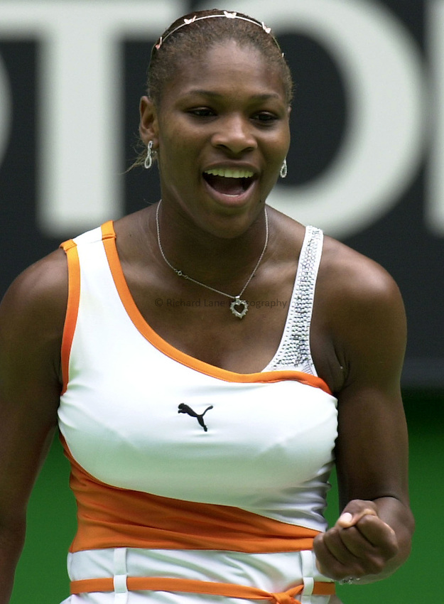 Australian Open Tennis 2003.13/01/2003.Serena Williams of USA in first round match against Emilie Loit of France.