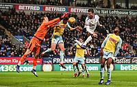 Bolton Wanderers' Christian Doidge has a header saved by Rotherham United's goalkeeper Marek Rodak<br /> <br /> Photographer Andrew Kearns/CameraSport<br /> <br /> The EFL Sky Bet Championship - Bolton Wanderers v Rotherham United - Wednesday 26th December 2018 - University of Bolton Stadium - Bolton<br /> <br /> World Copyright &copy; 2018 CameraSport. All rights reserved. 43 Linden Ave. Countesthorpe. Leicester. England. LE8 5PG - Tel: +44 (0) 116 277 4147 - admin@camerasport.com - www.camerasport.com