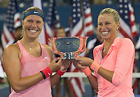 Lucie Hradecka &amp; Andrea Hlavackova<br /> Tennis - US Open  - Grand Slam -  Flushing Meadows  2013 -  New York - USA - United States of America - Saturday 7th September 2013. <br /> <br /> &copy; AMN Images, 8 Cedar Court, Somerset Road, London, SW19 5HU<br /> Tel - +44 7843383012<br /> mfrey@advantagemedianet.com<br /> www.amnimages.photoshelter.com<br /> www.advantagemedianet.com<br /> www.tennishead.net