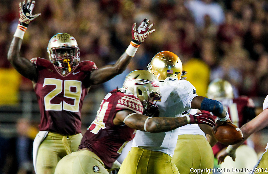 TALLAHASSEE, FLA. 10/18/14-FSU-ND101814CH-Florida State's Terrance Smith pressures Notre Dame quarterback Everett Golson as Nate Andrews, left, defends the pass during second half action Saturday at Doak Campbell Stadium in Tallahassee. The Seminoles beat the Fighting Irish 31-27.<br /> COLIN HACKLEY PHOTO