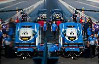 Nov 2, 2019; Las Vegas, NV, USA; NHRA funny car driver Tommy Johnson Jr waits behind teammate Jack Beckman during qualifying for the Dodge Nationals at The Strip at Las Vegas Motor Speedway. Mandatory Credit: Mark J. Rebilas-USA TODAY Sports