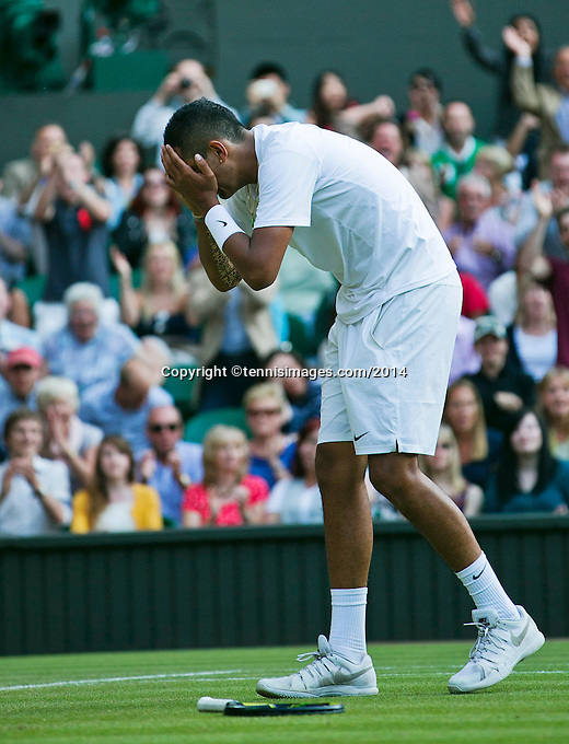 England, London, 28.06.2014. Tennis, Wimbledon, AELTC, Nick Kyrgios (AUS) defeats Rafael Nadal (ESP) and celebrates<br /> Photo: Tennisimages/Henk Koster