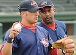 New manager Billy McMillon (51) of the Greenville Drive talks with outfielder Shannon Wilkrson (10) on Media Day, April 7, 2010, at Fluor Field at the West End in Greenville, S.C. Photo by: Tom Priddy/Four Seam Images