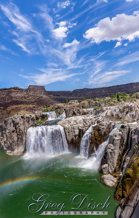 """Shoshone Falls is a waterfall on the Snake River in southern Idaho, approximately 3 miles northeast of the city of Twin Falls. Sometimes called the """"Niagara of the West,"""" Shoshone Falls is 212 feet high—45 feet higher than Niagara Falls—and flows over a rim nearly 1,000 feet wide."""