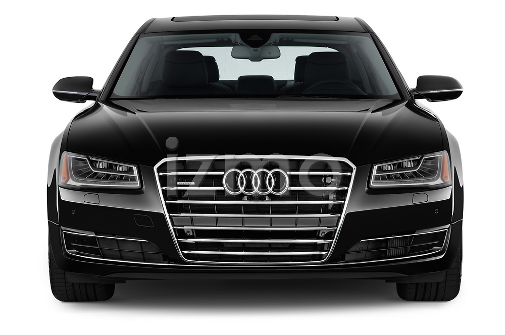 Car photography straight front view of a 2015 Audi A8 3.0T SWB quattro tiptronic 4 Door Sedan