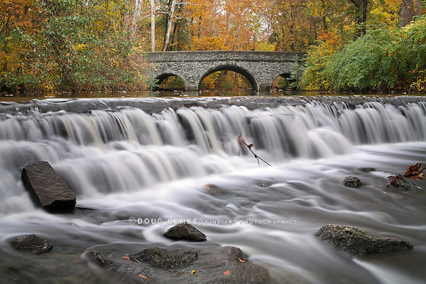 Stone Bridge And Waterfall, Autumn In The Park, Sharon Woods, Southwestern Ohio