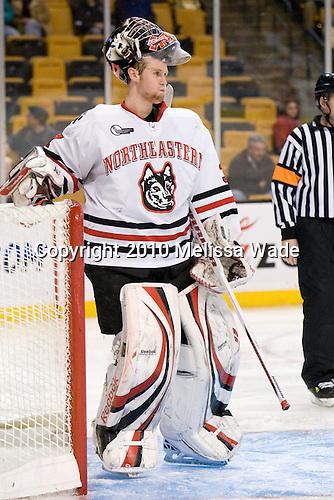 Chris Rawlings (NU - 37) - The Northeastern University Huskies defeated the Harvard University Crimson 4-1 (EN) on Monday, February 8, 2010, at the TD Garden in Boston, Massachusetts, in the 2010 Beanpot consolation game.
