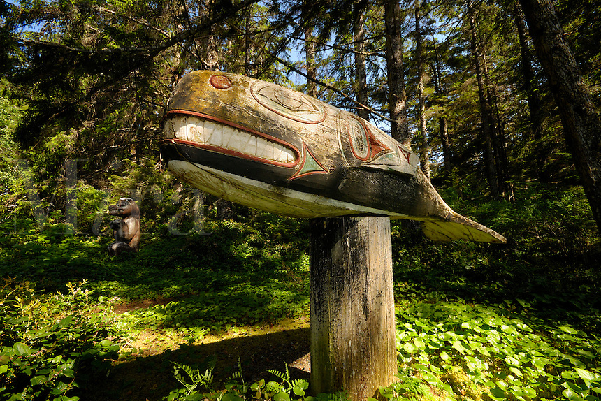 Totem poles, Prince of Wales Island, Inside Pasage, Alaska