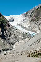 Terminal face of retreating Franz Josef Glacier, Westland National Park, West Coast, World Heritage, South Island, New Zealand