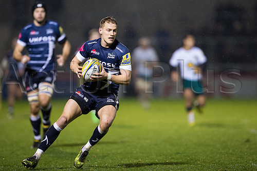 March 3rd 2017, Sale, Cheshire, England, Aviva Premiership Rugby, Sale Sharks versus Northampton Saints; Sale Sharks Mike Haley catches the ball