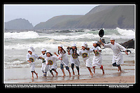 Chef Jean Marie Vaireaux with the help of local schoolchildren launch the Dingle Food Festival in 2009.<br /> Picture: macmonagle archive<br /> e: info@macmonagle.com