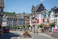 Germany, Rhineland-Palatinate, Ahr-Valley, Adenau: town in the High Eifel, known as the 'Johanniterstadt', main road at centre | Deutschland, Rheinland-Pfalz, Adenau: Stadt in der Hocheifel auch bekannt als Johanniterstadt, Hauptstrasse in der Innenstadt