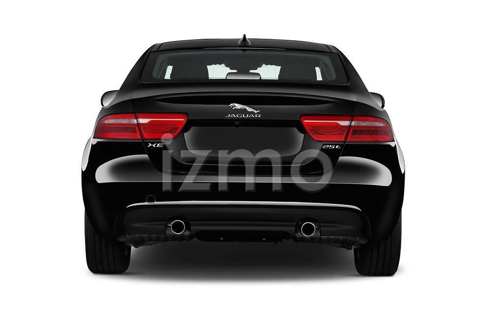 Straight rear view of 2017 Jaguar XE - 4 Door Sedan Rear View  stock images