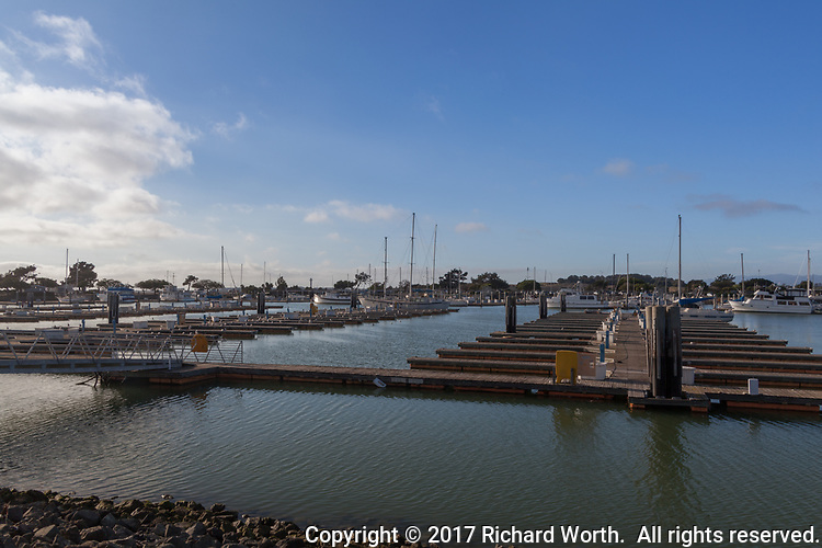 Multiple berths stand empty at a marina in transition due to the high cost of dredging.  The San Leandro Marina on San Francisco Bay's eastern shore.