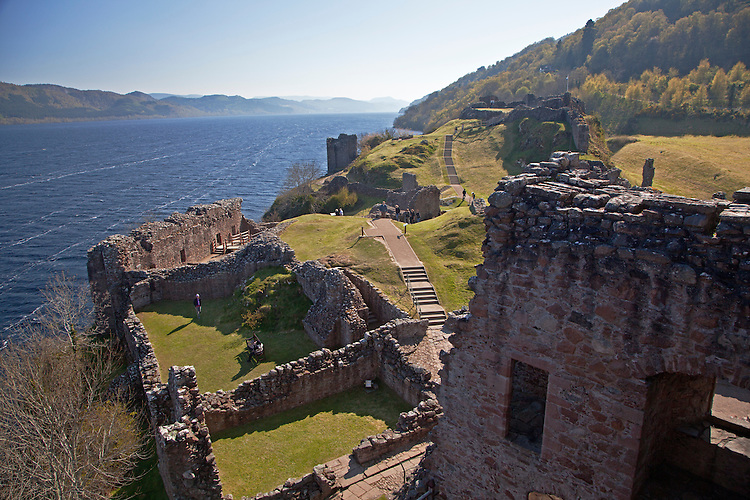 Grant Tower and the Urquart Castle along Loch Ness in the Highlands of Scotland, United Kingdom