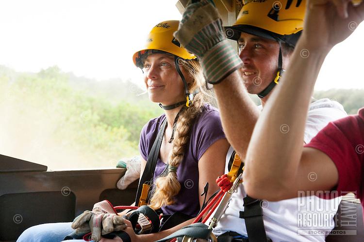 Couple preparing to go Ziplining, Kohala zipline, Big island