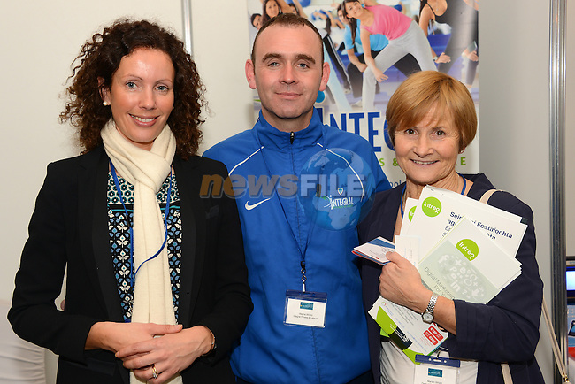 Eimear Marron (left), Wayne Wright and Maruan wright at the Integral Fitness and Leisure stand at the Drogheda Chamber Business Expo in the Westcourt Hotel. www.newsfile.ie