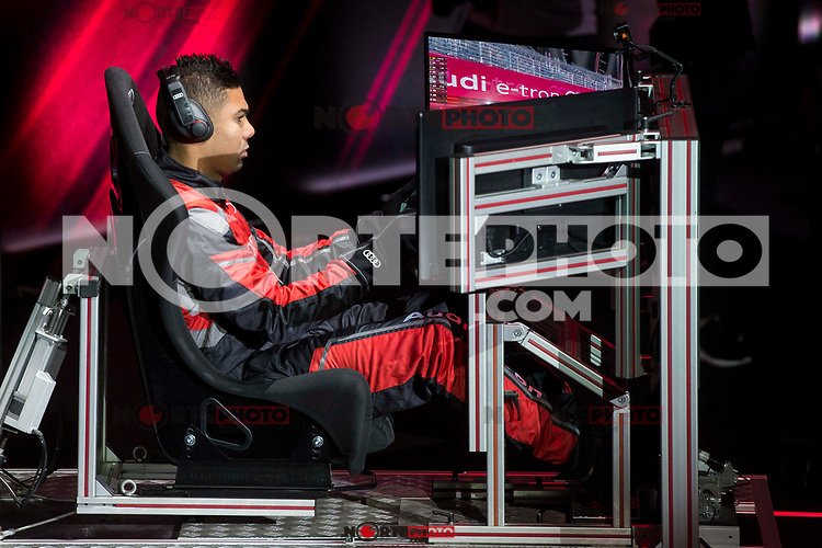 Carlos Henrique Casemiro of Real Madrid CF races in his simulated Formula-e car during a race with his teammates during the Audi Handover Sponsorship deal with Real Madrid at the Ciudad Deportivo training grounds in Madrid, Spain. November 23, 2017. (ALTERPHOTOS/Borja B.Hojas) /NortePhoto.com NORTEPHOTOMEXICO