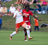 Makenzy Doniak (9) of Virginia fights for the ball with Shade Pratt (22) of Maryland during the game at Klockner Stadium in Charlottesville, VA.  Virginia defeated Maryland, 1-0.