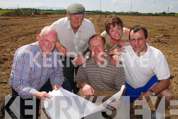 FUTURE PLANNING: Members of Abbeydorney GAA Club checking out  plans for the development of the field at a site meeting on Friday last..Front L/r. Tim Allman (Allman Contracts Ltd), Frank Egan, Bill Maunsell..Back L/r. Tom Healy and Kathy Maunsell.