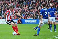 Lincoln City's Luke Waterfall vies for possession with Macclesfield Town's George Pilkington<br /> <br /> Photographer Andrew Vaughan/CameraSport<br /> <br /> Vanarama National League - Lincoln City v Macclesfield Town - Saturday 22nd April 2017 - Sincil Bank - Lincoln<br /> <br /> World Copyright &copy; 2017 CameraSport. All rights reserved. 43 Linden Ave. Countesthorpe. Leicester. England. LE8 5PG - Tel: +44 (0) 116 277 4147 - admin@camerasport.com - www.camerasport.com