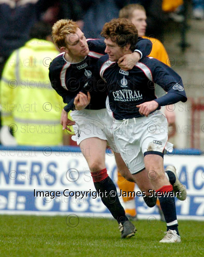 11/03/2006         Copyright Pic: James Stewart.File Name : sct_jspa20_motherwell_v_falkirk.PATRICK CREGG IS CONGRATULATED AFTER SCORING FALKIRK'S GOAL...Payments to :.James Stewart Photo Agency 19 Carronlea Drive, Falkirk. FK2 8DN      Vat Reg No. 607 6932 25.Office     : +44 (0)1324 570906     .Mobile   : +44 (0)7721 416997.Fax         : +44 (0)1324 570906.E-mail  :  jim@jspa.co.uk.If you require further information then contact Jim Stewart on any of the numbers above.........