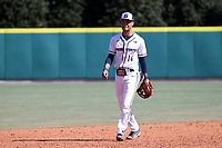 CARY, NC - FEBRUARY 23: Mac Hippenhammer #14 of Penn State University plays shortstop during a game between Wagner and Penn State at Coleman Field at USA Baseball National Training Complex on February 23, 2020 in Cary, North Carolina.
