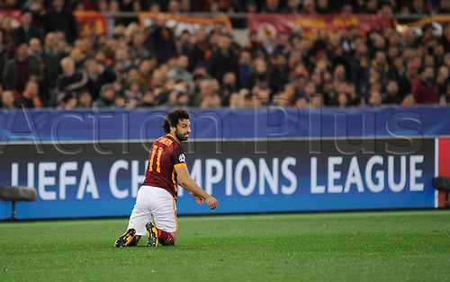 17.02.2016. Stadio Olimpico, Rome, Italy. UEFA Champions League, Round of 16 - first leg, AS Roma versus Real Madrid.  Mohamed Salah dejeted as the game goes on
