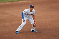 Jacksonville Jumbo Shrimp third baseman Joe Dunand (3) during a Southern League game against the Mobile BayBears on May 28, 2019 at Baseball Grounds of Jacksonville in Jacksonville, Florida.  Mobile defeated Jacksonville 2-1.  (Mike Janes/Four Seam Images)